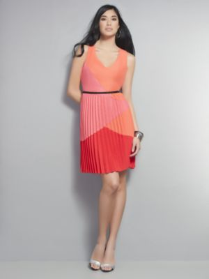 Colorblock Dress with Pleated Skirt