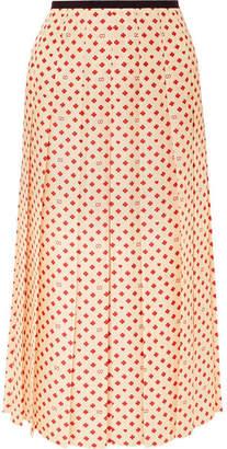 Gucci Grosgrain-trimmed Pleated Printed Silk-twill Midi Skirt