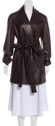 Malo Leather Open Front Jacket