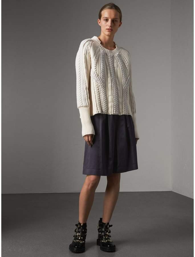 Burberry Pleated Linen Cotton Blend Skirt