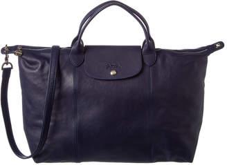 Longchamp Le Pliage Cuir Large Leather Short Handle Tote