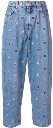 Tommy Hilfiger embroidered wide leg jeans
