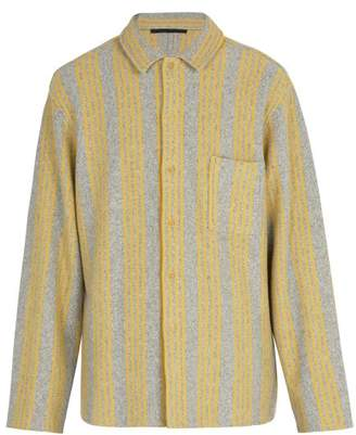 Haider Ackermann Wool And Cashmere Blend Knitted Shirt - Mens - Grey