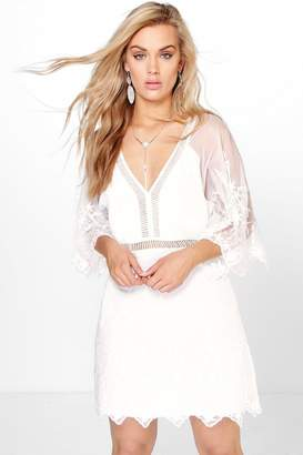 boohoo Plus Boutique Crochet Wide Sleeve Dress