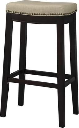 Linon 98326WAL-01-KD Allure Stool Fabric Top Stool, 30-Inch