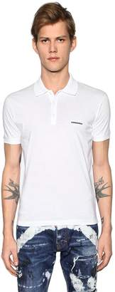 DSQUARED2 Logo Detail Cotton Jersey Polo Shirt