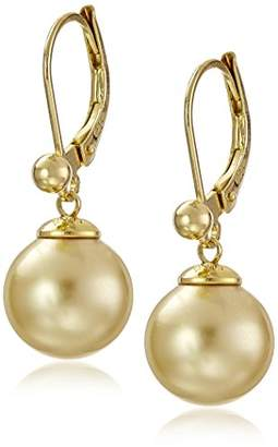 Majorica Vermeil and White Simulated Pearl Dangle Earrings