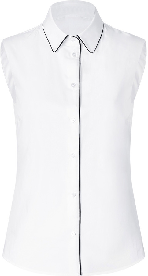 Jil Sander Navy White Cotton Sleeveless Shirt with Contrast Trim