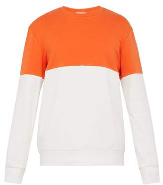 Everest Isles - Colour Block Cotton Sweatshirt - Mens - Orange Multi