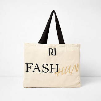 River Island Beige 'fash hun' print shopper tote bag