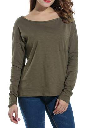 Meaneor Women's Round Neck Loose Long Sleeve Pocket T-shirt Tops L