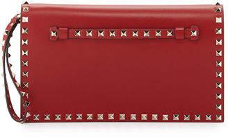 Valentino Rockstud Flap Wristlet Clutch Bag