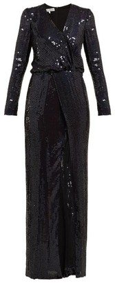 Galvan Vera Sequinned Dress - Womens - Navy