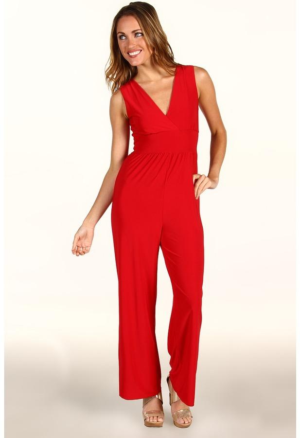 Christin Michaels Jena Jumpsuit (Red) - Apparel