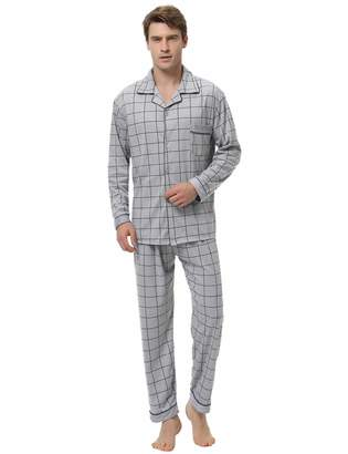 5a6578a55d2 Aibrou Mens Cotton Pajama Set with Long-Sleeve Top and Fleece Bottom Sleep  Sets Pajamas