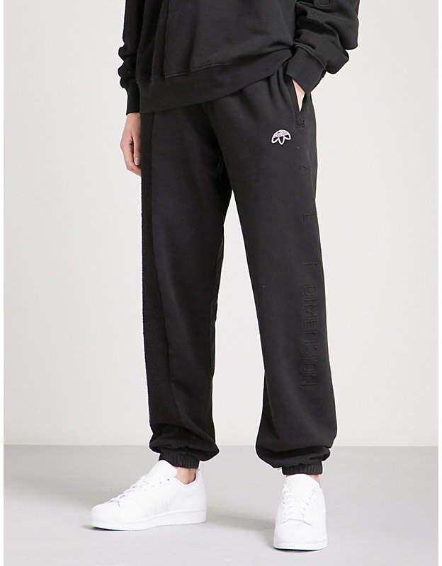 Adidas X Alexander Wang Logo-embroidered cotton-jersey jogging bottoms