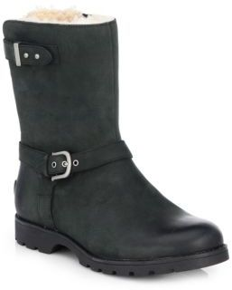 UGGGrandle Leather & Shearling Motorcycle Boots