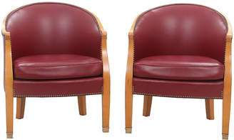 One Kings Lane Vintage Leather Barrel Chairs - Set of 2