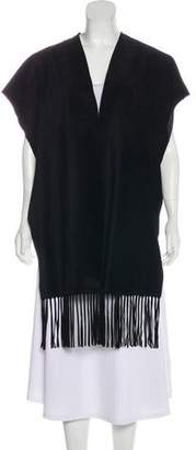 Valentino Leather Fringe-Accented Poncho