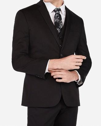 Express Slim Black Cotton Sateen Stretch Suit Jacket
