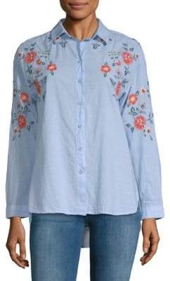 Lucianna Embroidered Cotton Button-Down Shirt