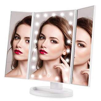 Easehold Led Lighted Vanity Mirror Make Up Tri-Fold with 38Pcs Lights Ultra-Thin 2x/5x/10x Magnifying 180 Degree Free Rotation Table Countertop Cosmetic Bathroom Mirror(White)
