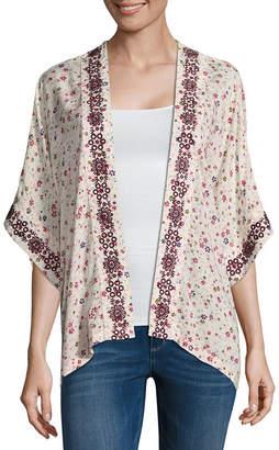 Arizona 3/4 Sleeve Floral Kimono-Juniors