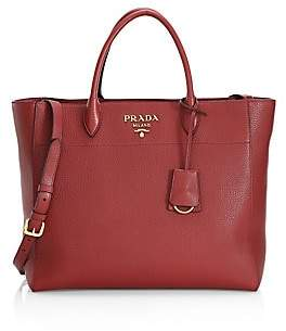 Prada Women's Vitello Daino Striped Strap Leather Tote Bag