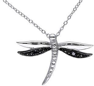 Black Diamond QVC Accent Dragonfly Pendant w/ Chain