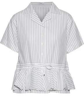 Tome Cabana Ruffled Pinstriped Cotton-Poplin Peplum Shirt