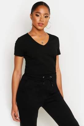 boohoo Basic Rib V Neck Cap Sleeve T-Shirt