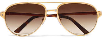 Cartier Eyewear - Aviator-style Gold-plated And Textured-leather Sunglasses
