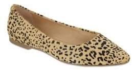 Mia Zander Leopard-Print Fur Ballet Flats