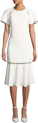 Jonathan Simkhai Metal Studded Crepe Midi-Length Tee Dress