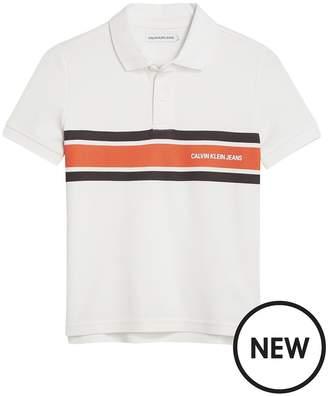 Calvin Klein Jeans Boys Pique Chest Stripe Polo - White
