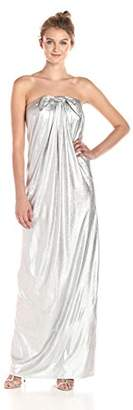 Halston Women's Strapless Metallic Jersey Gown with Front Twist