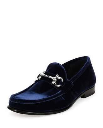 Salvatore Ferragamo Mason 2 NG Velvet Gancini Loafer, Navy $640 thestylecure.com