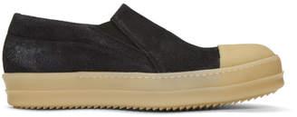Rick Owens Black Suede Boat Slip-On Sneakers