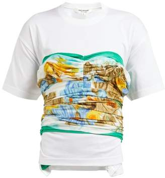 Junya Watanabe Silk Satin Panelled Cotton T Shirt - Womens - White Multi