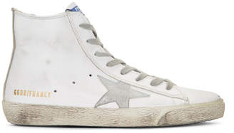 Golden Goose White and Silver Francy High-Top Sneakers