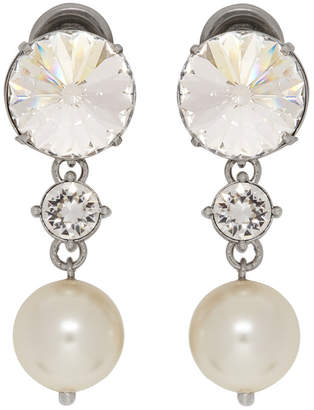 Miu Miu Silver Crystal and Pearl Clip-On Earrings