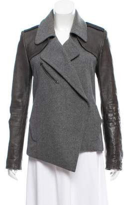 Barbara Bui Leather-Accented Button-Up Jacket