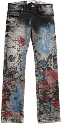 John Galliano Printed Stretch Denim Jeans