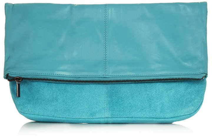 Topshop Leather fold over clutch bag