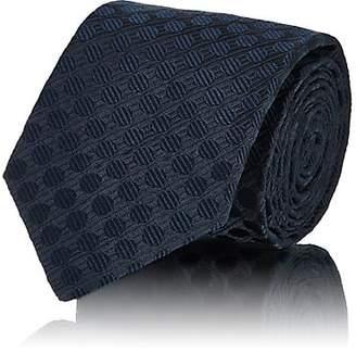 Isaia Men's Dotted Textured Silk Seven-Fold Necktie - Navy