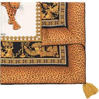 Versace brown, yellow and black baroque and leopard print silk scarf