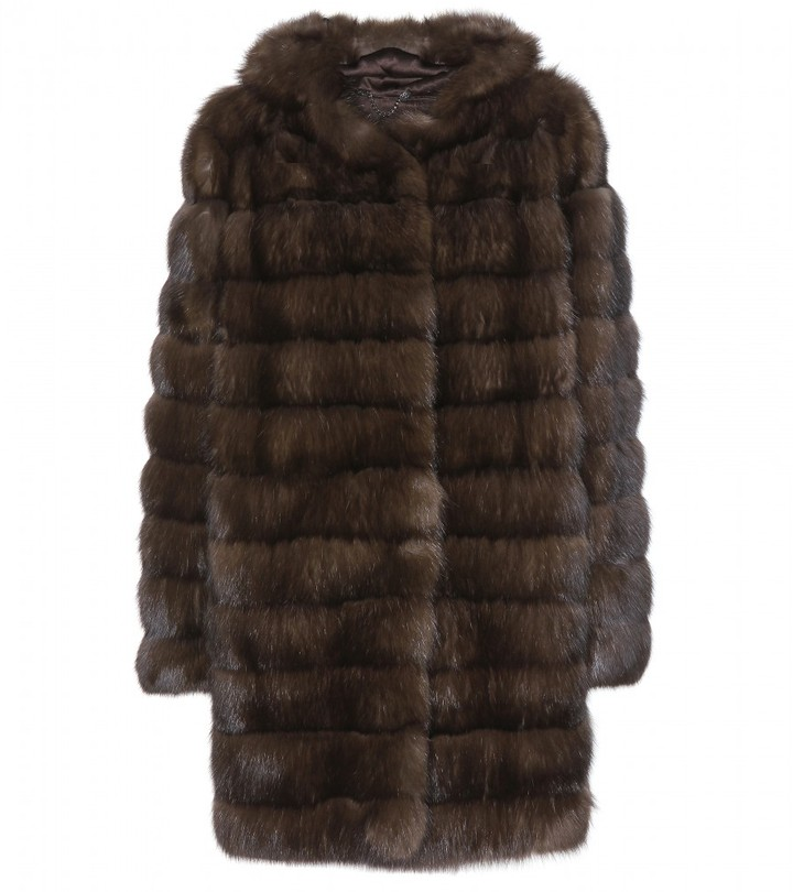 Manzoni24 Barguzin Sable fur coat with hood