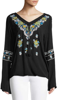 Chelsea & Theodore Embroidered V-Neck Peasant Blouse