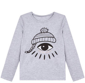 Kenzo Logo Winking Eye Long-Sleeve Cotton Tee, Size 2-6