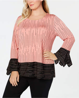 Alfani Plus Size Printed Colorblocked Top